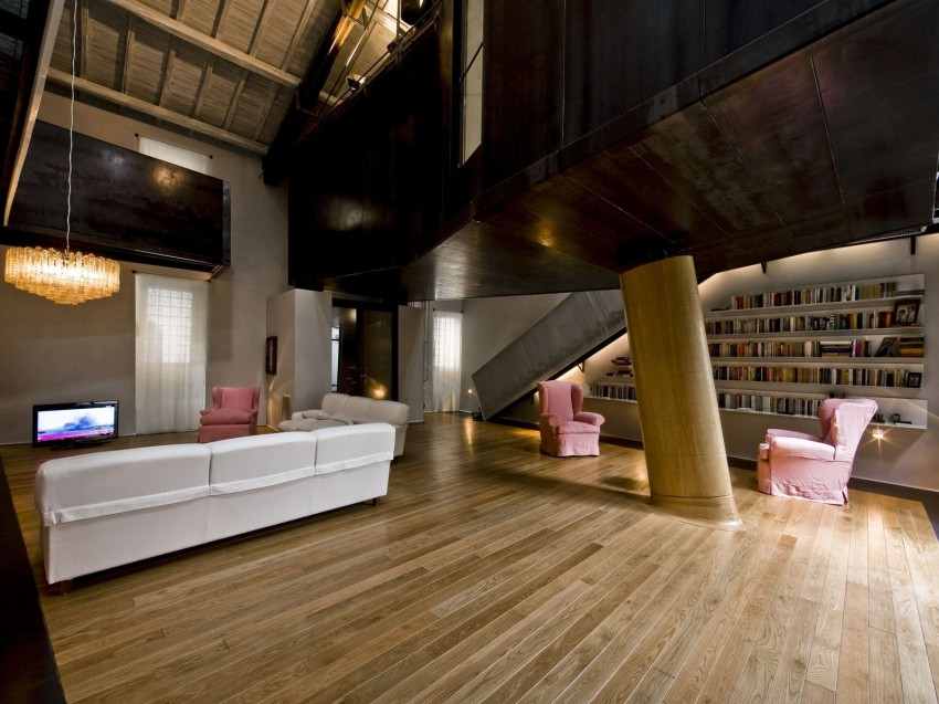 Rome stables converted into loft apartment large column from different angle