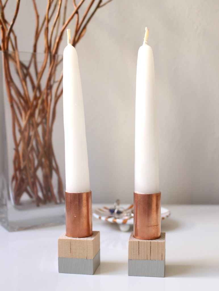 Simple copper candlesticks