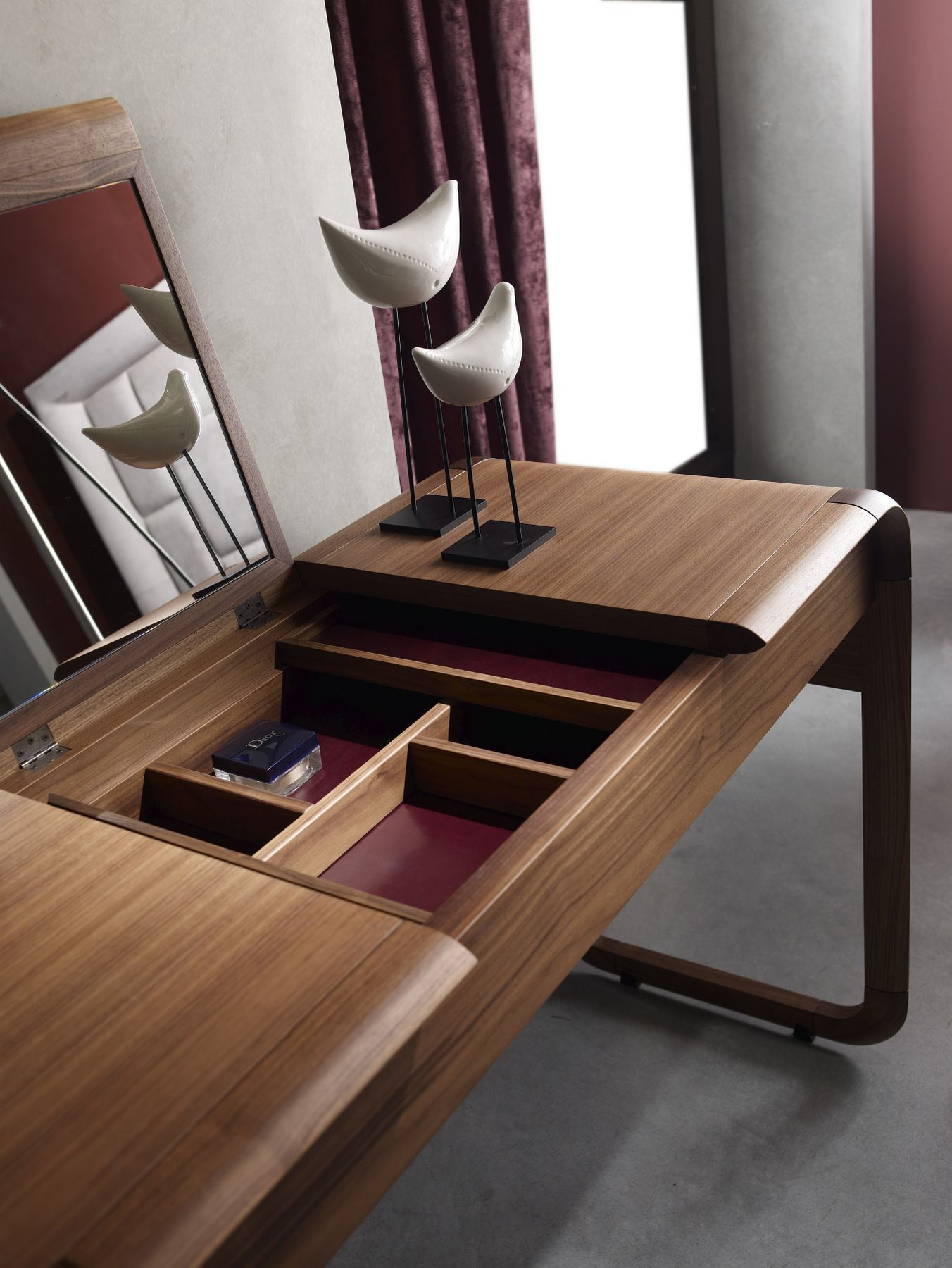 Sleek Wooden Dressing Table Open