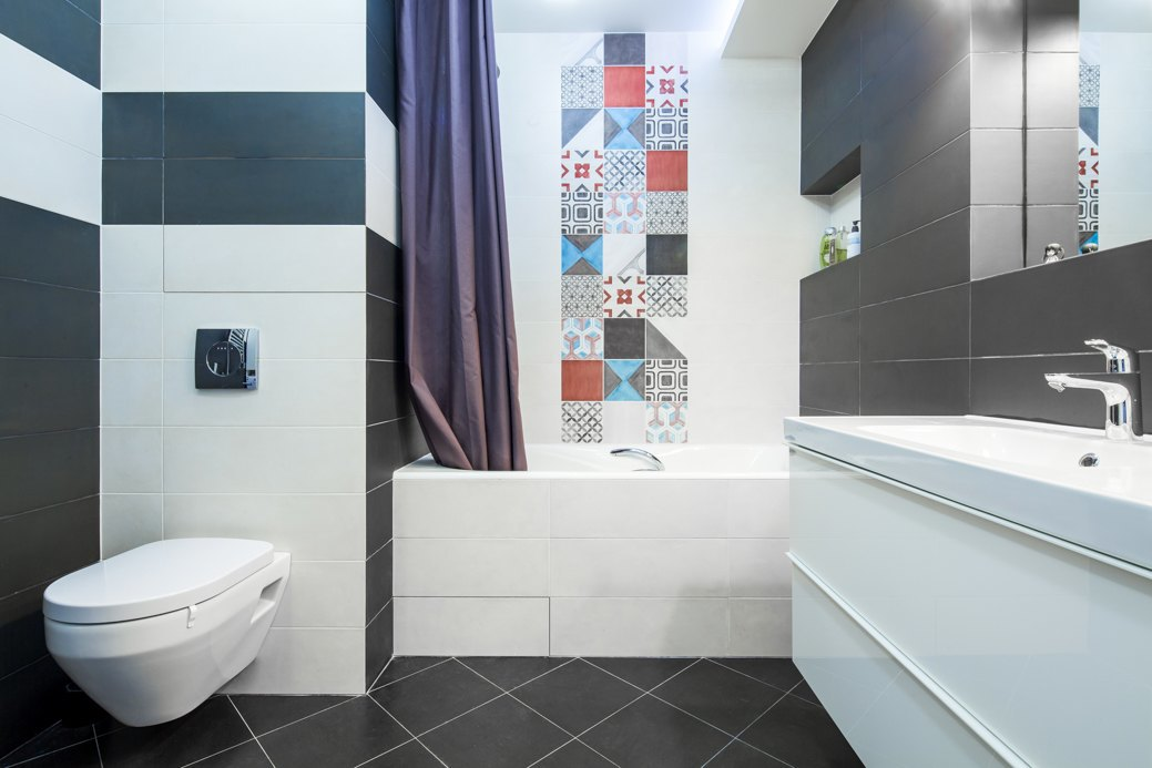 Small apartment with fresh design bathroom mosaic