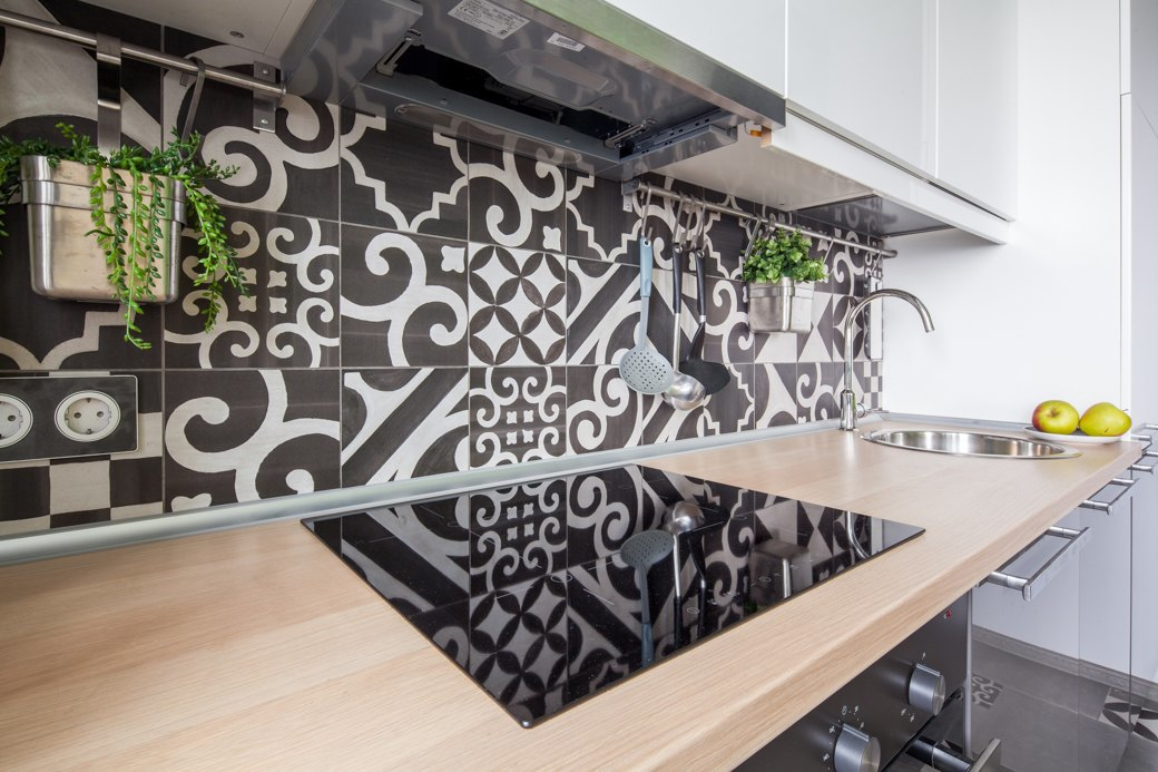 Small apartment with fresh design kitchen backsplash