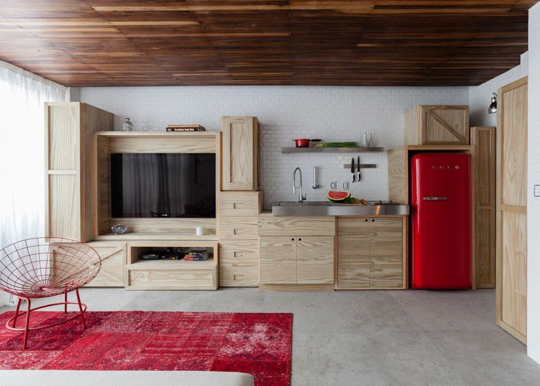 Small kitchen combined with living units