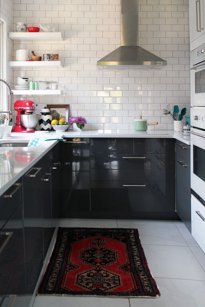Small kitchen design with white subway tiles