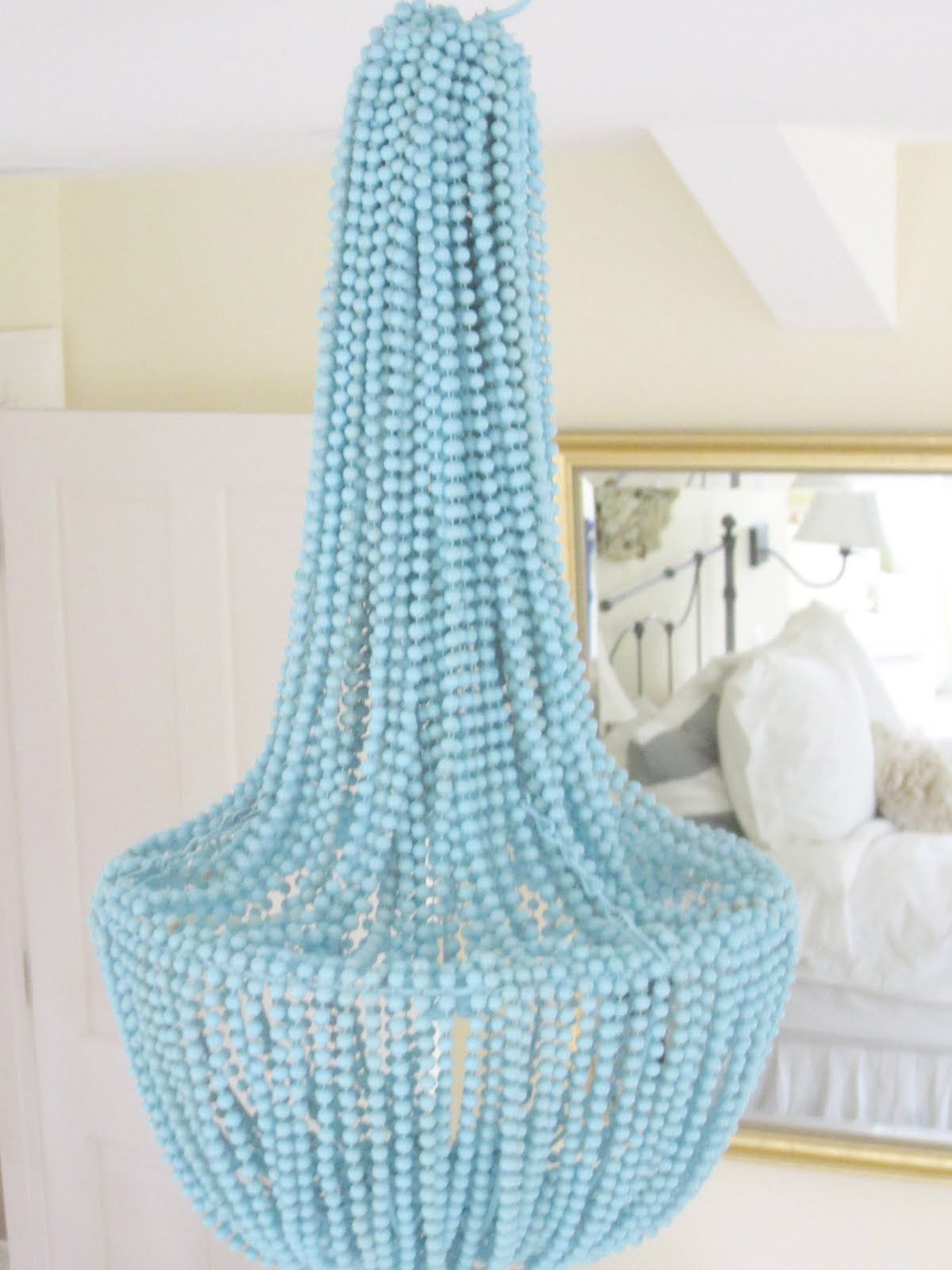 Spray painted beaded chandelier