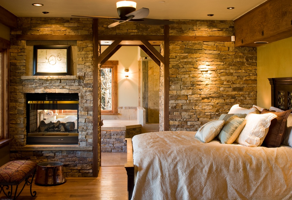 Stacked Stone Fireplace And Double Sided