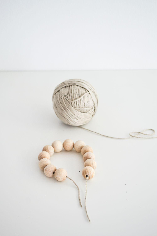 Start stringing the beads all