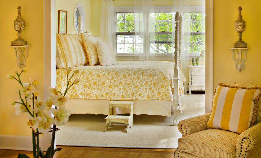 Style a monochromatic yellow bedroom