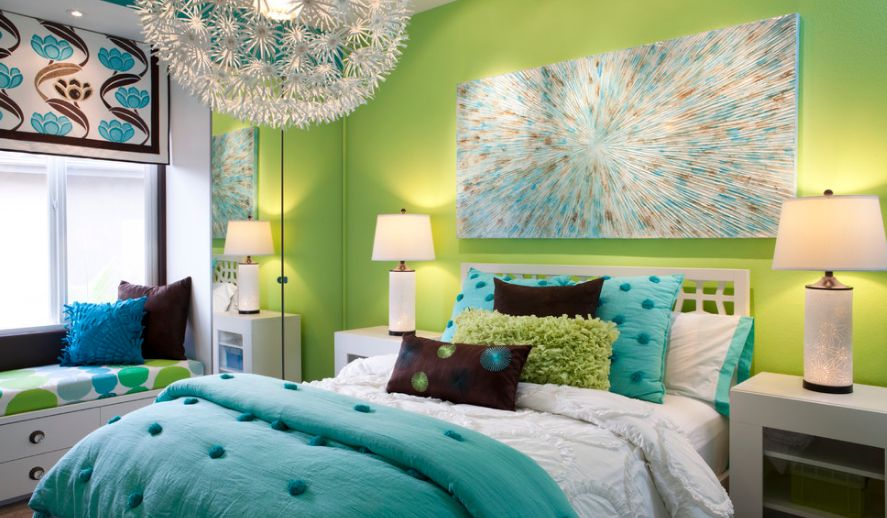 bold bedroom colors. Teenage bedroom featuring bold colors How To Give Character A Bedroom With Painting Over The Bed