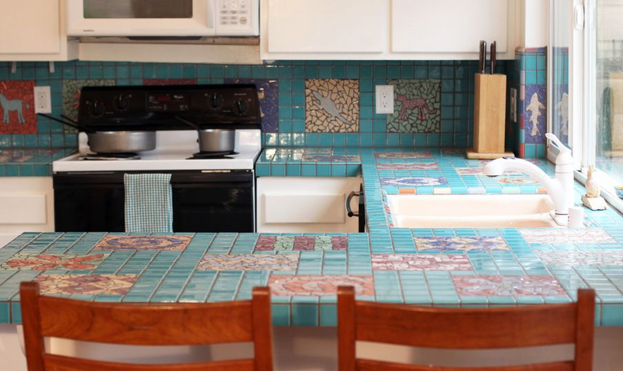 Elegant Turquoise Mosaic Kitchen Countertop Tiles Idea