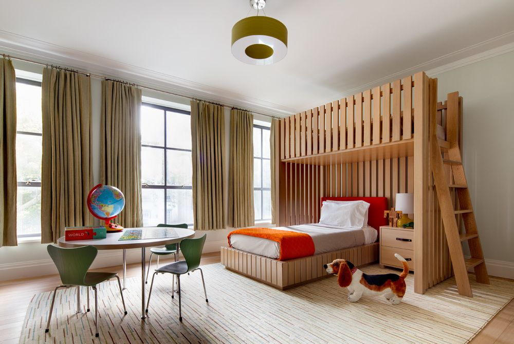 This child's bedroom includes elements with varying visual textures that come together in a very interesting and functional design.