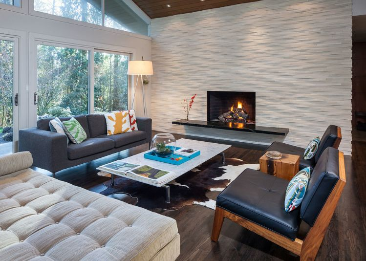 White 3D wall design with fireplace