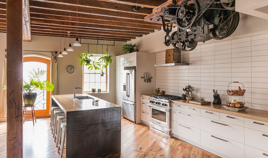 White and wood kitchen with subway tiles