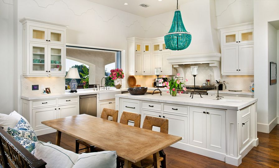white kitchen with turquoise chandelier over island - Turquoise Chandelier Light