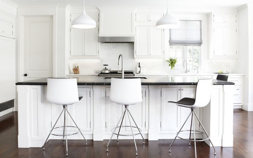 Wonderful White Traditional Kitchen White Modern Bar Stools