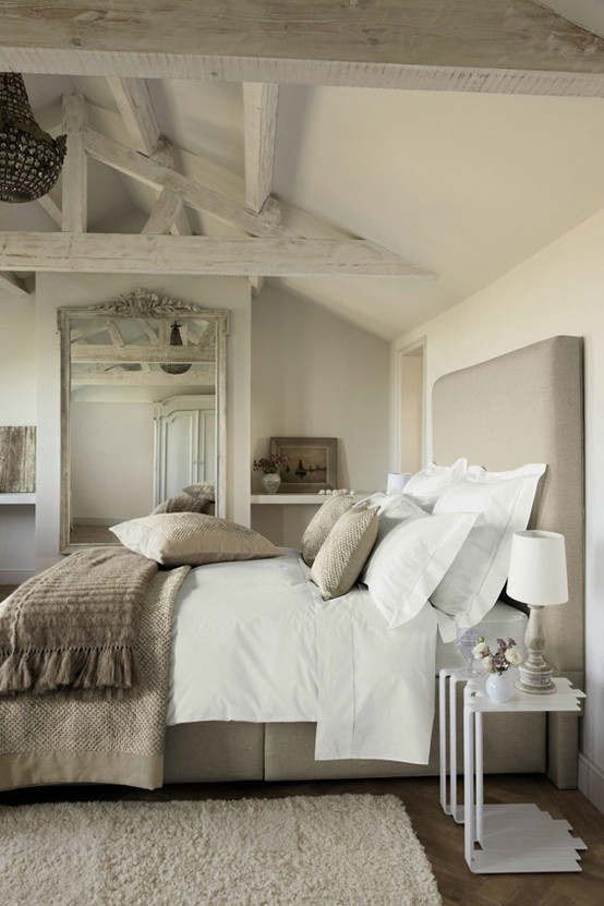 White washed rustic bedroom beams