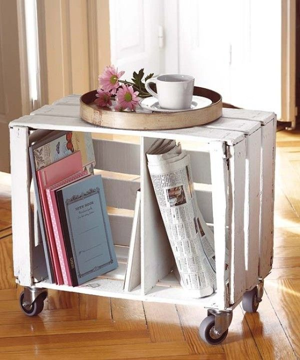 White wine crate on wheels