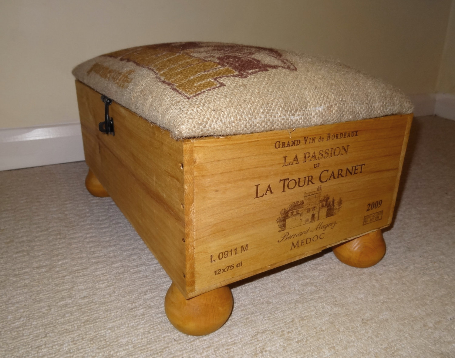 Wine crate footstool