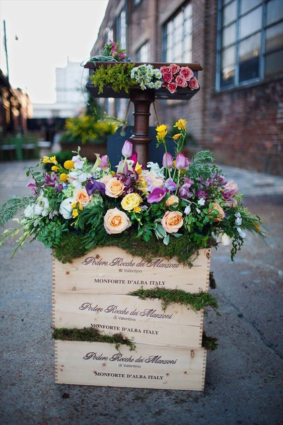 Wine crates for wedding centerpieces
