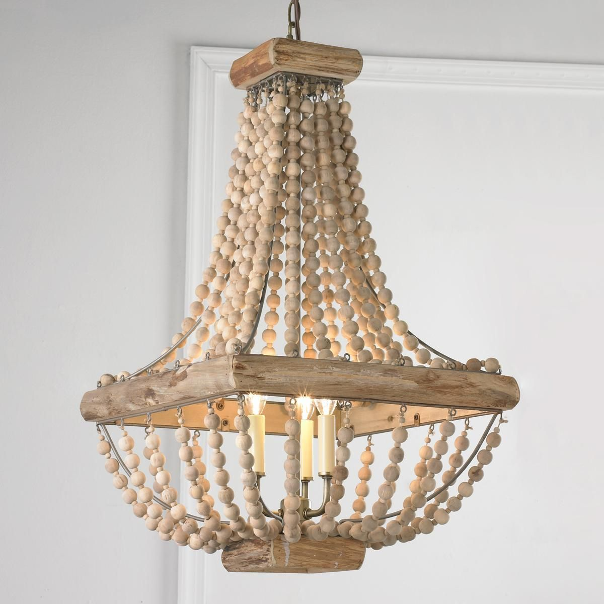 Wood Bead Chandelier