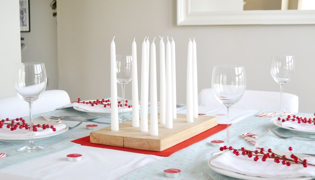 Wood block candle centerpiece