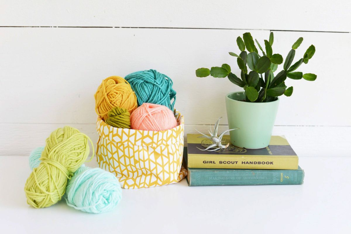 Yellow DIY Fabric Basket