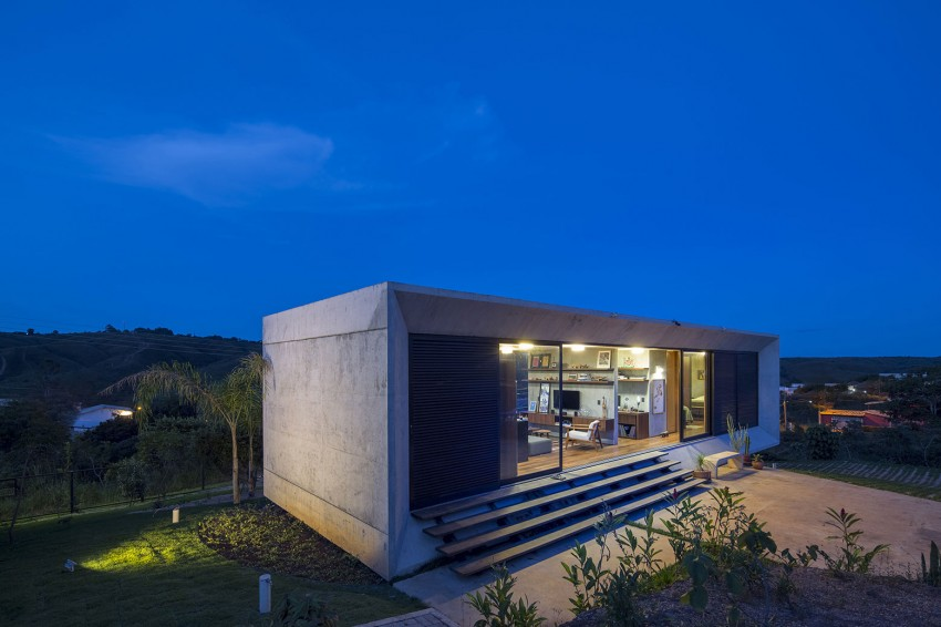 minimal house in brazil at night