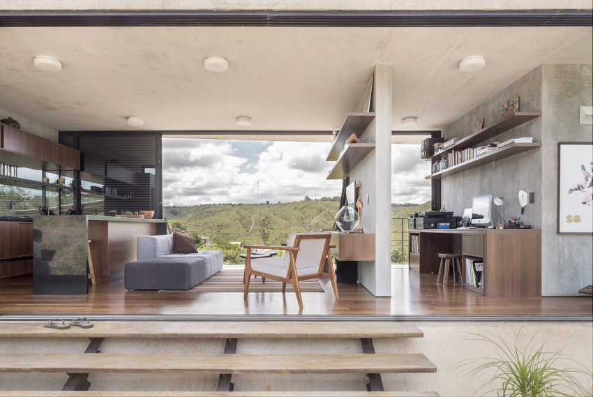 minimal house in brazil living room and office