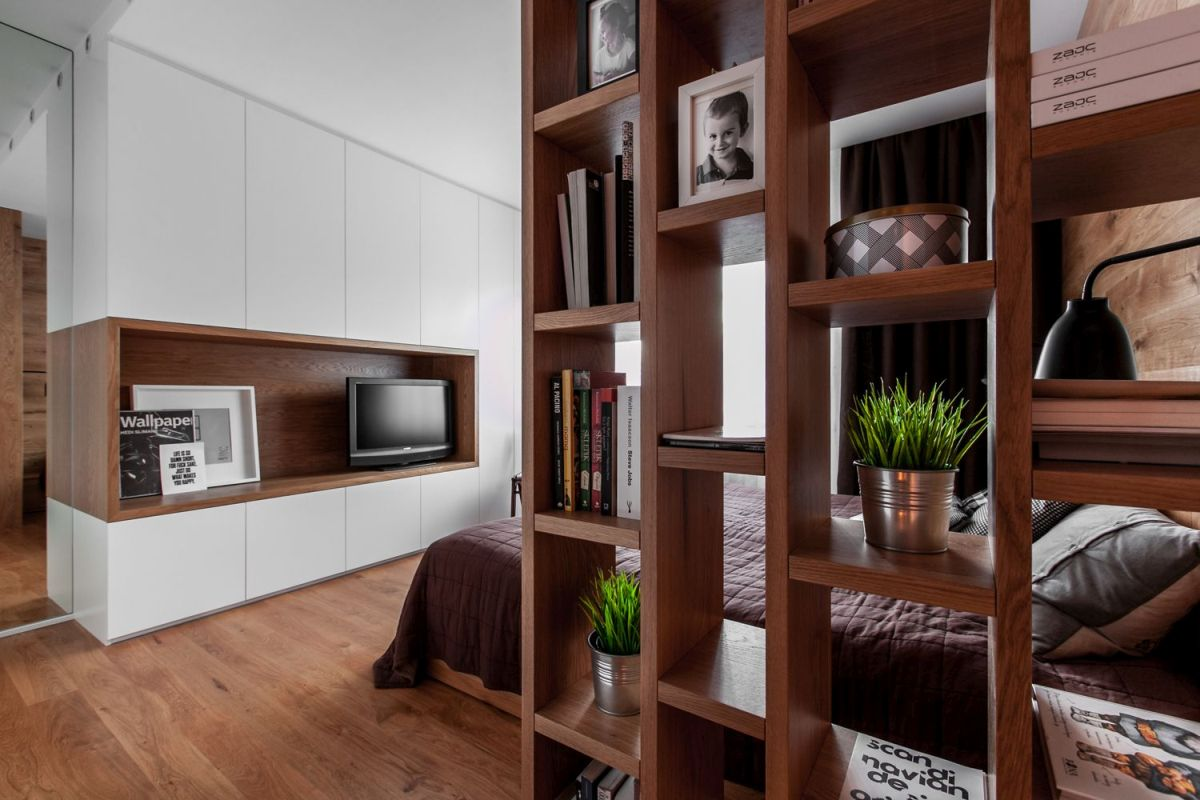 multifunctional family house by modelina bedroom bookcase