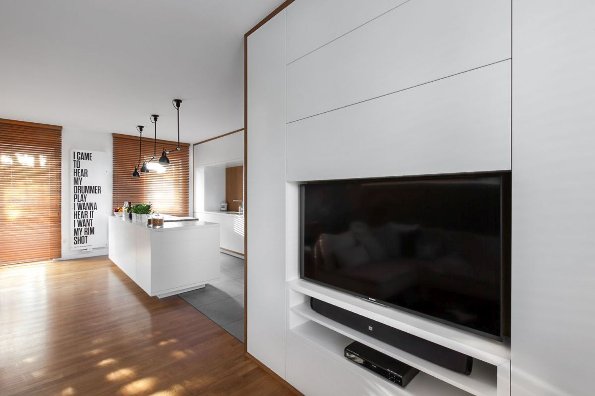 multifunctional family house by modelina living room TV