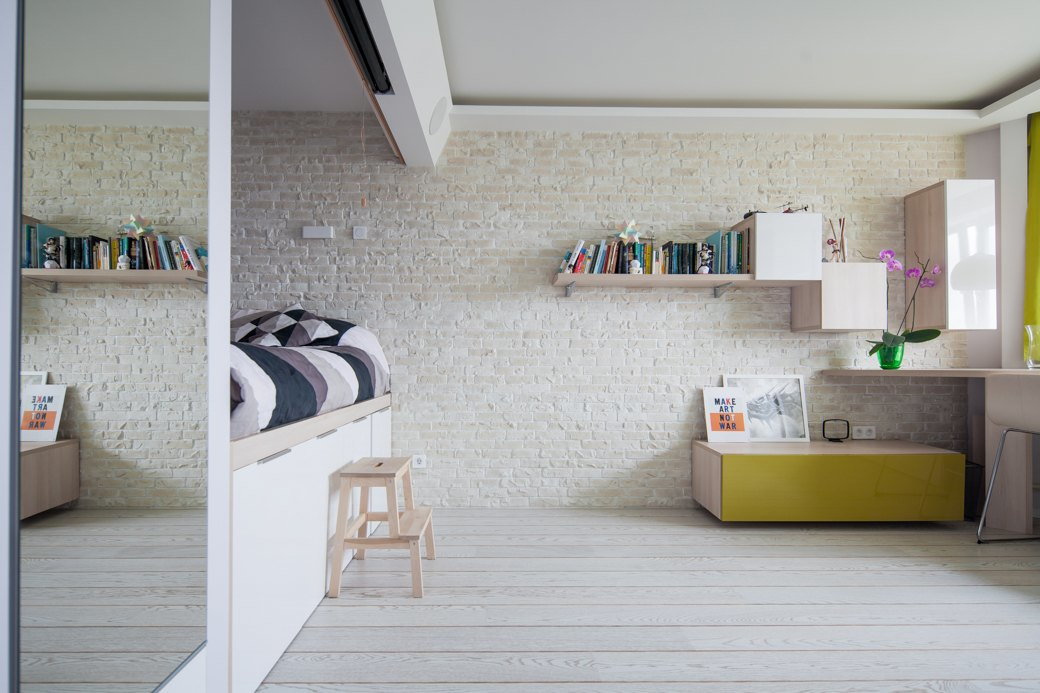 small apartment with fresh design living room wall shelves