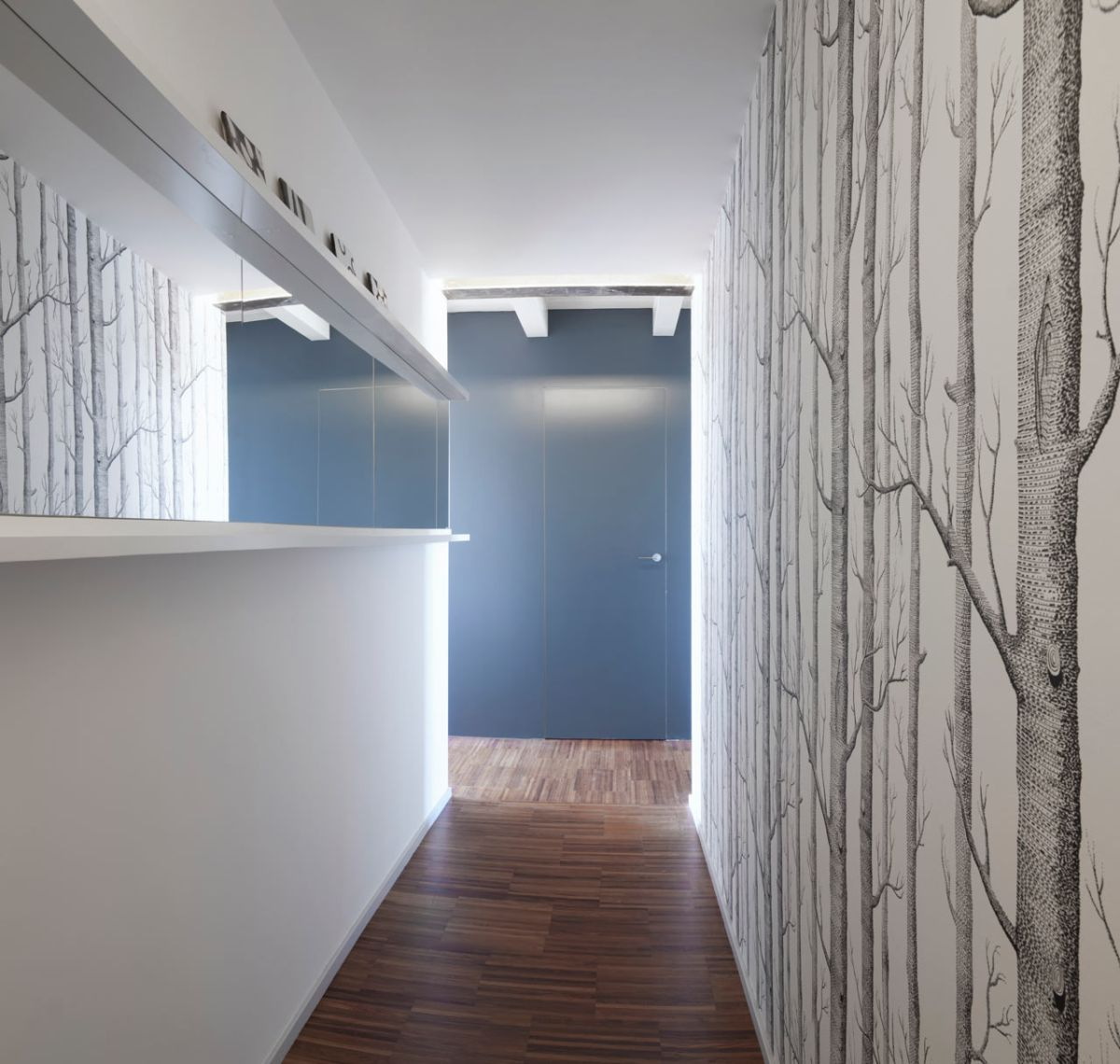 small milan apartment hallway birch tree wallpaper