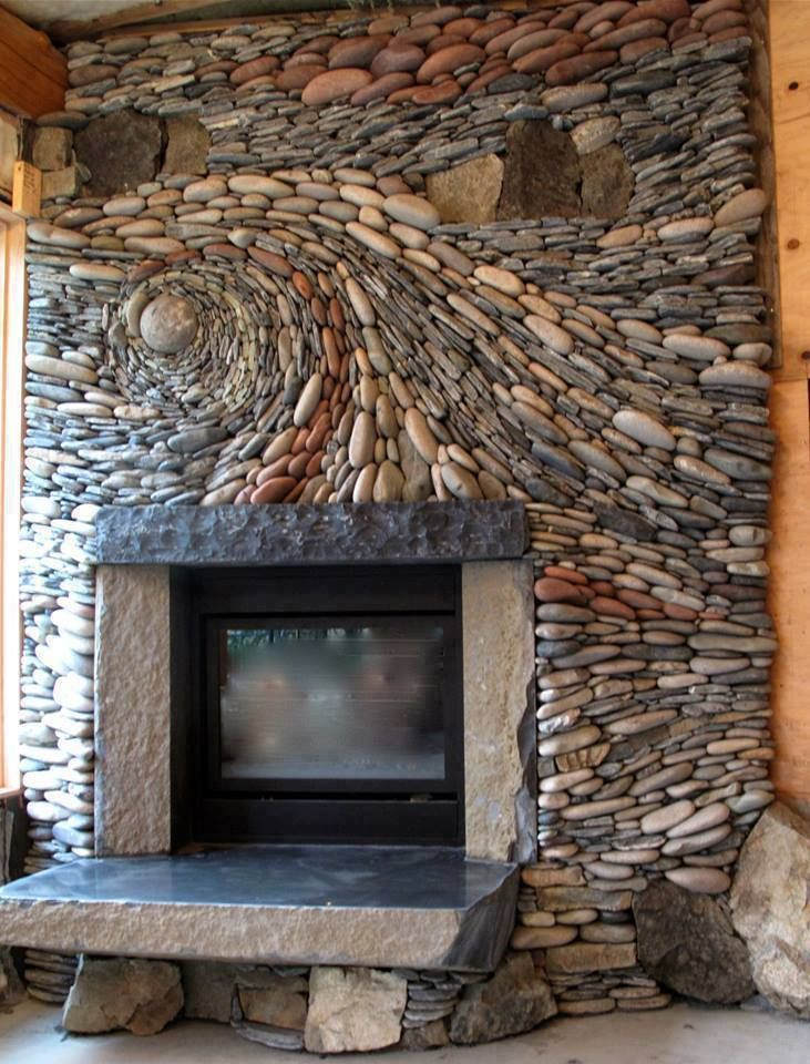 Artistic rock design for fireplace