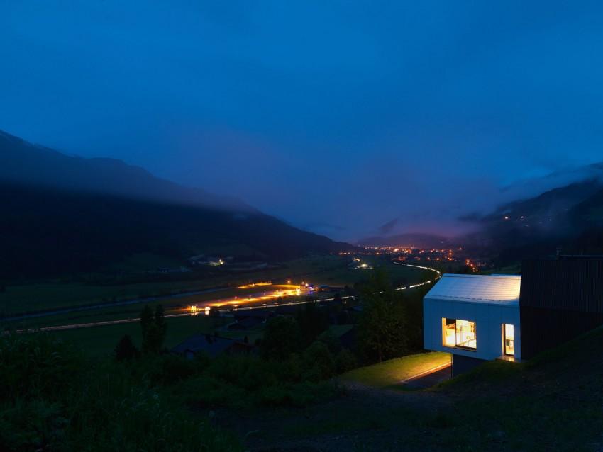 Austrian mountain retreat at night