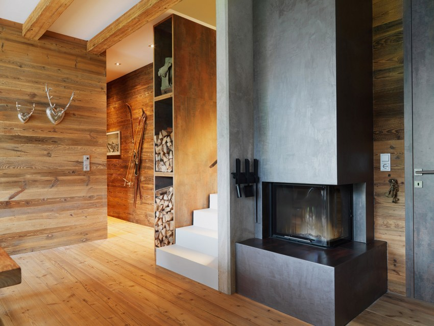 Austrian mountain retreat fireplace and wood storage