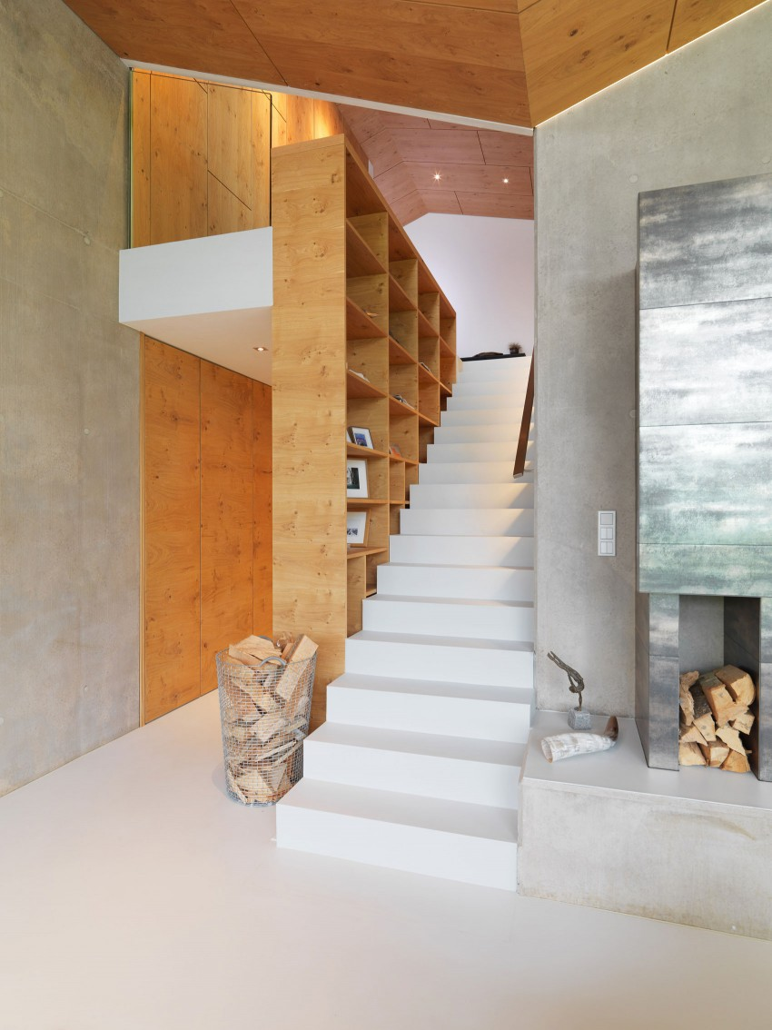 Austrian mountain retreat staircase and bookcase
