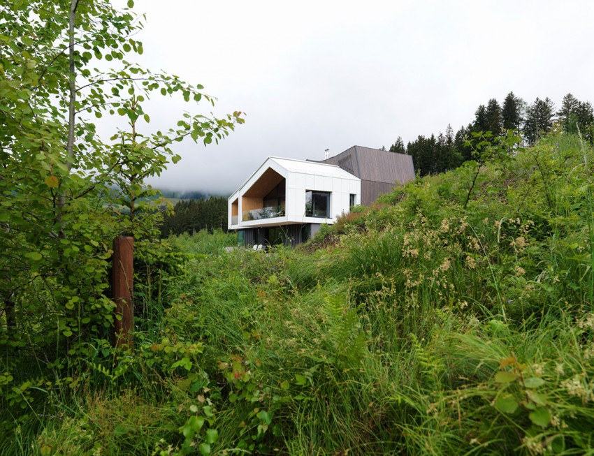 Austrian mountain retreat surrounded by vegetation