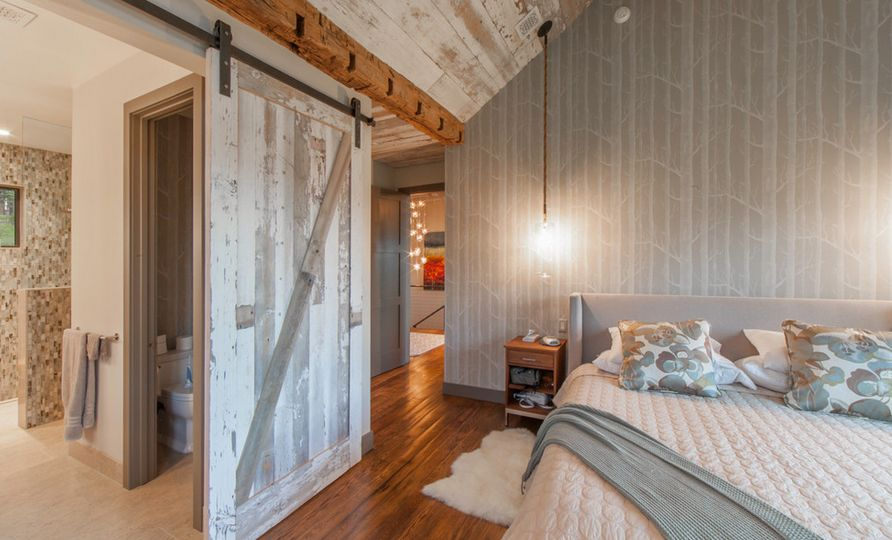 bedroom sliding doors. Bedroom sliding barn door and birch tree wallpaper 50 Ways To Use Interior Sliding Barn Doors In Your Home