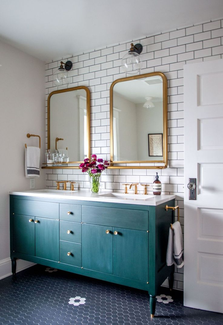 Brass bathroom accents and subway tiles. 30 Penny Tile Designs That Look Like A Million Bucks