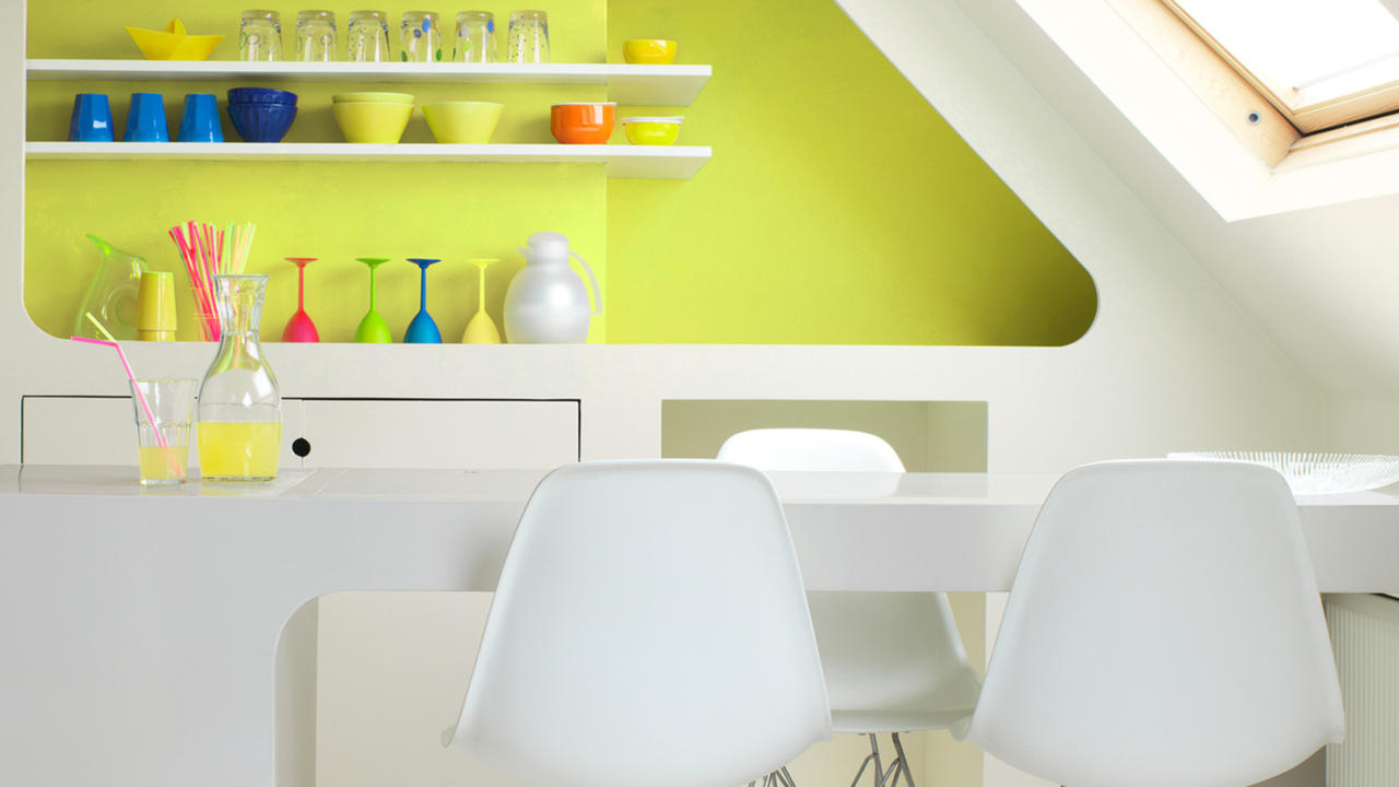 Bright yellow dining area