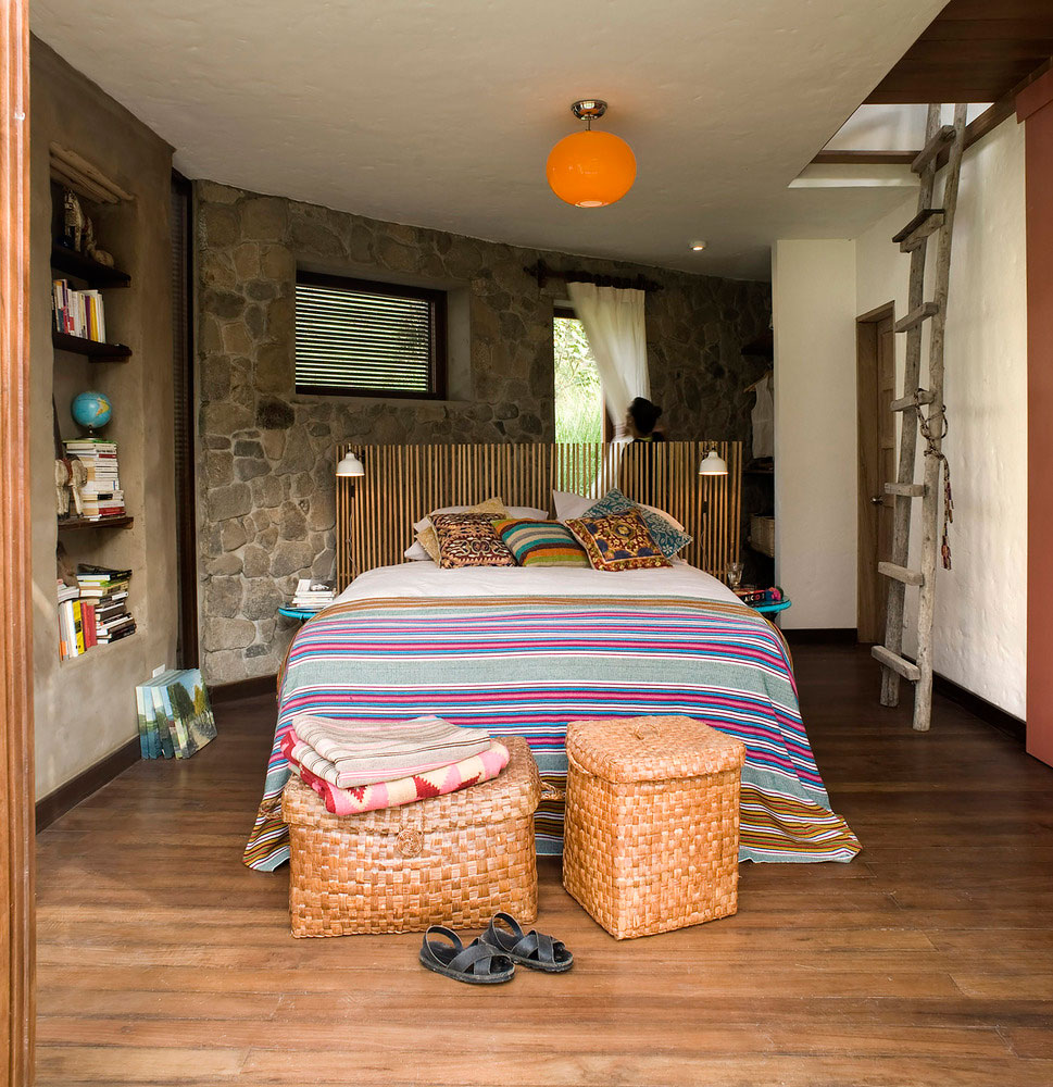 Casa Chontay bedroom stone walls and wood floor