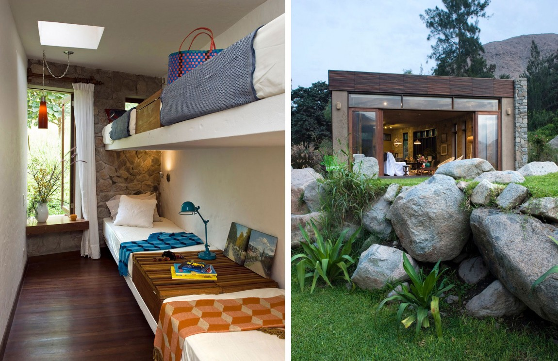 Casa Chontay small bedroom and landscape boulders