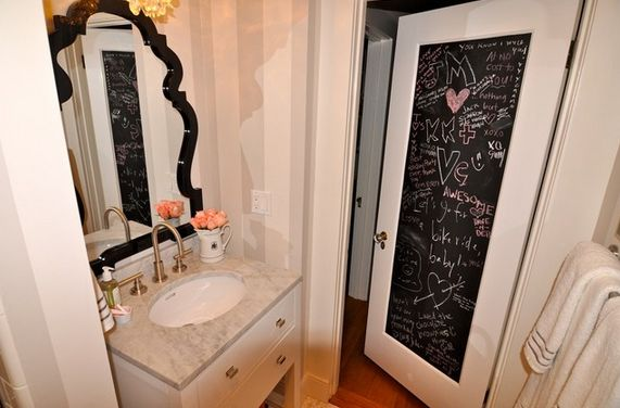 Chalk paint bathroom door