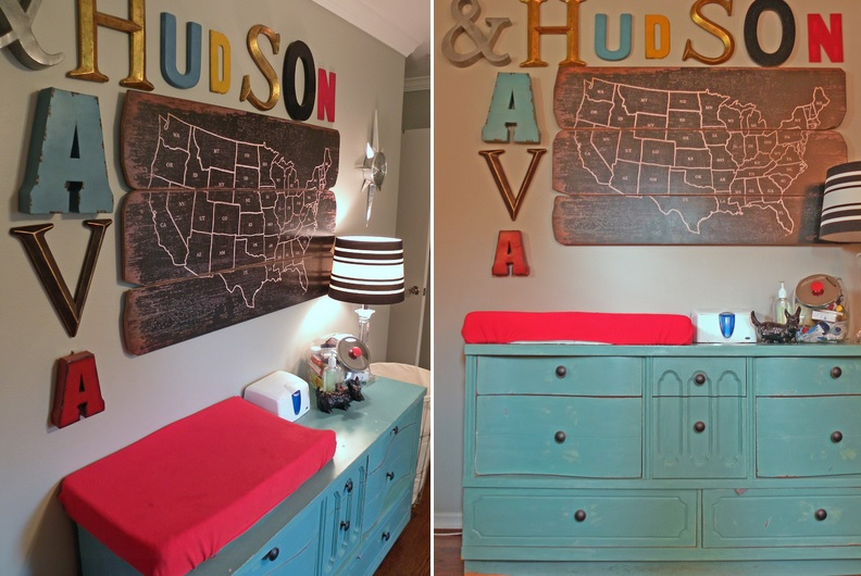 Changing table area for nursery with alphabet letters