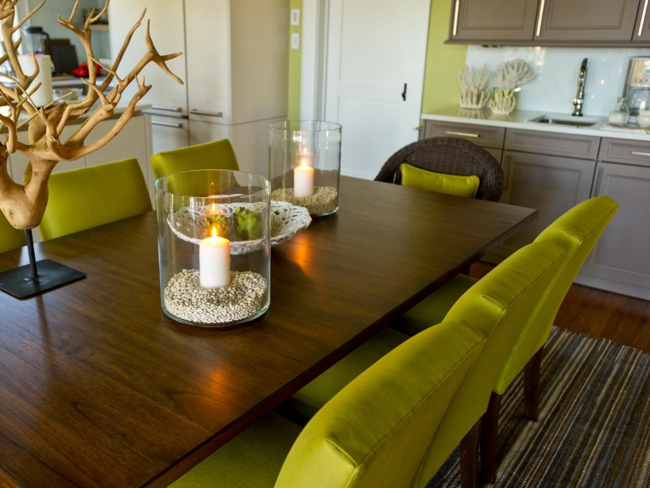 Chartreuse upholstered dining chairs