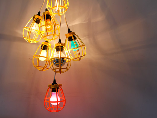 Colorful cage lamps chandelier