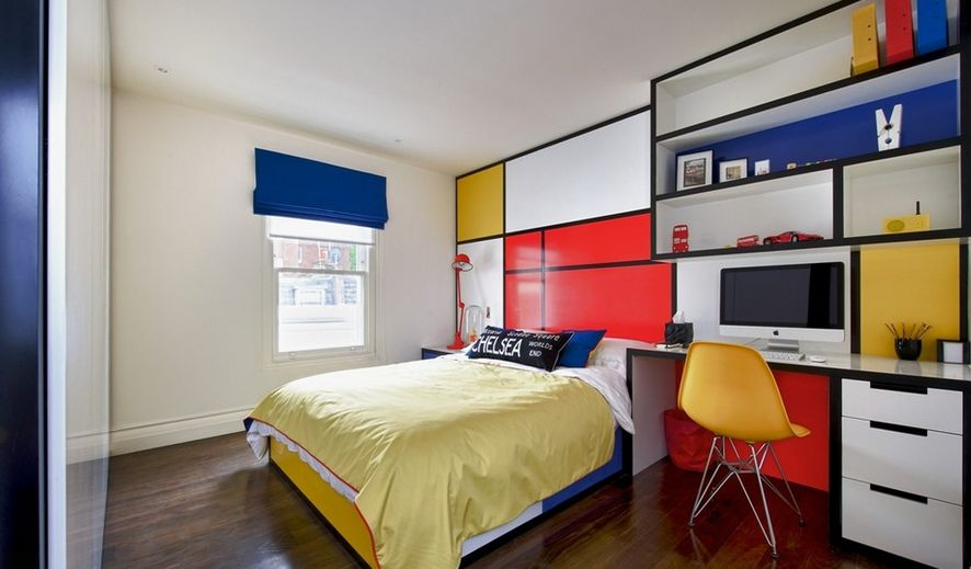 Colorful teenage room with custom furniture