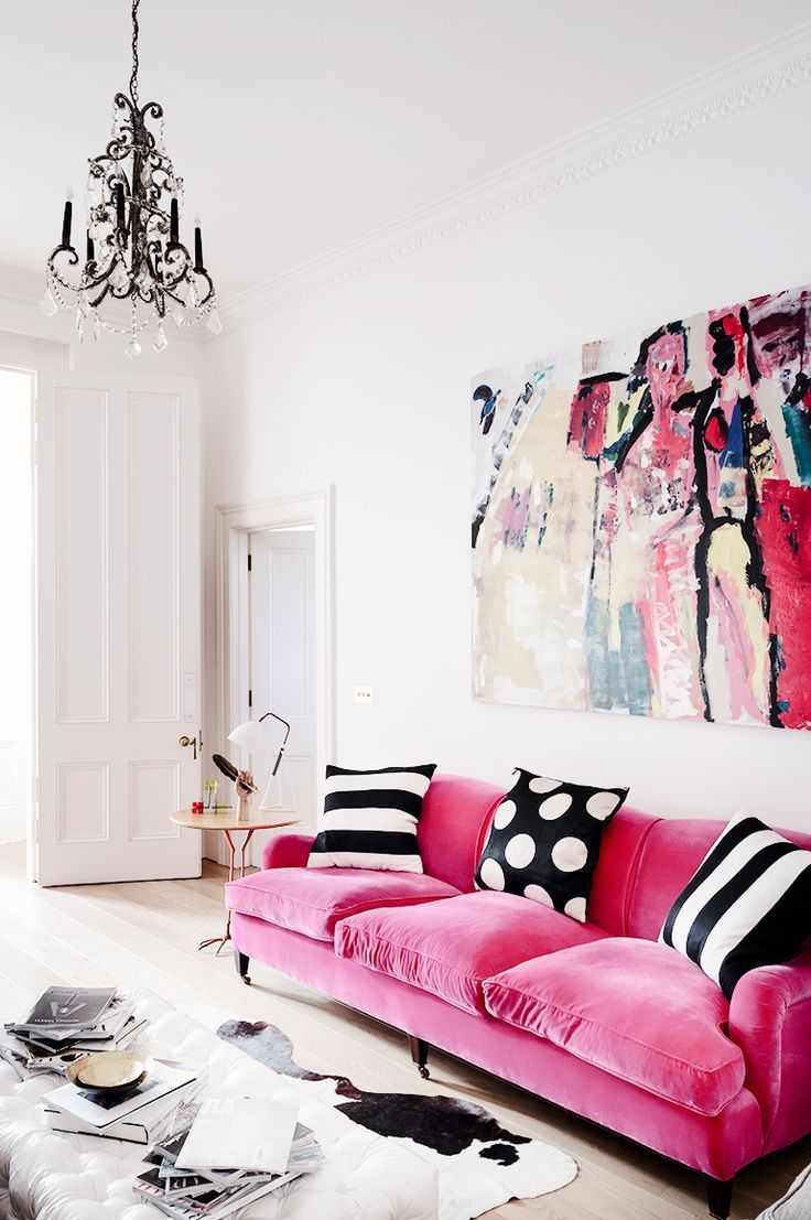 Cool feminine living decor with touches of pink