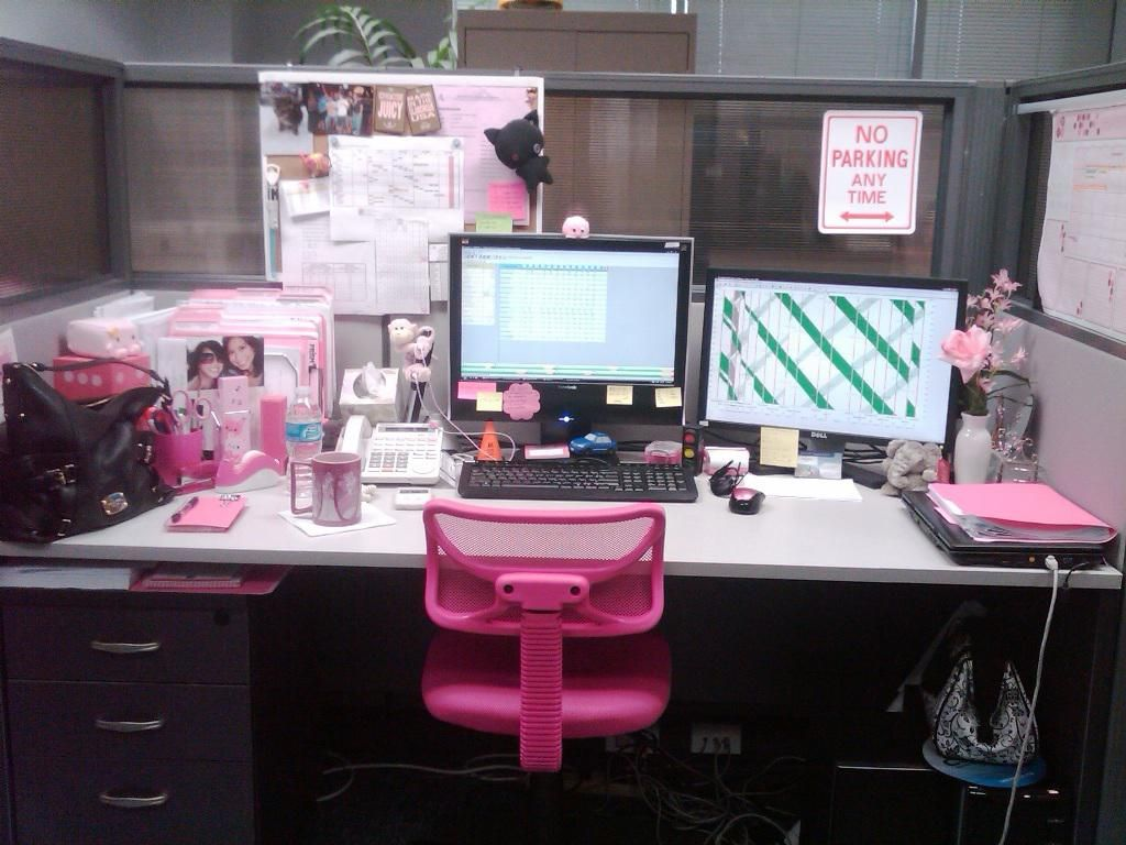 Office Cubicles Should Be Nicely Decorated And Attractive Cute pink cubicle decor