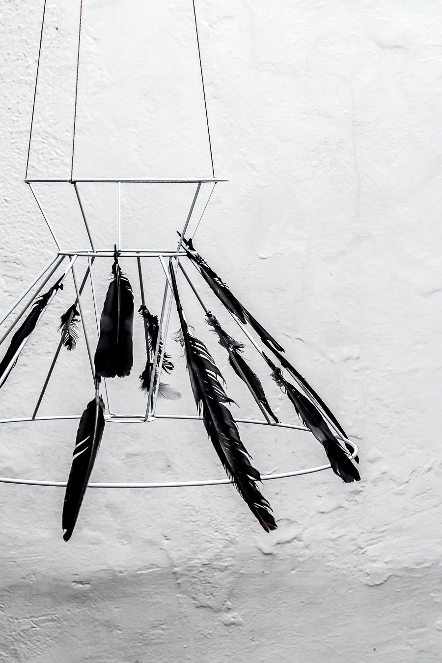 DIY Black Feather Chandelier for Halloween Angle