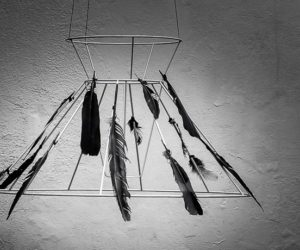 DIY Black Feather Chandelier for Halloween